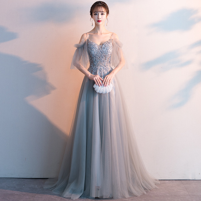 Mrs Win 2019 New Elegant Sexy Evening Dress V-neck Lace Appliques Beading Prom Gown Formal Dress Robe De Soiree