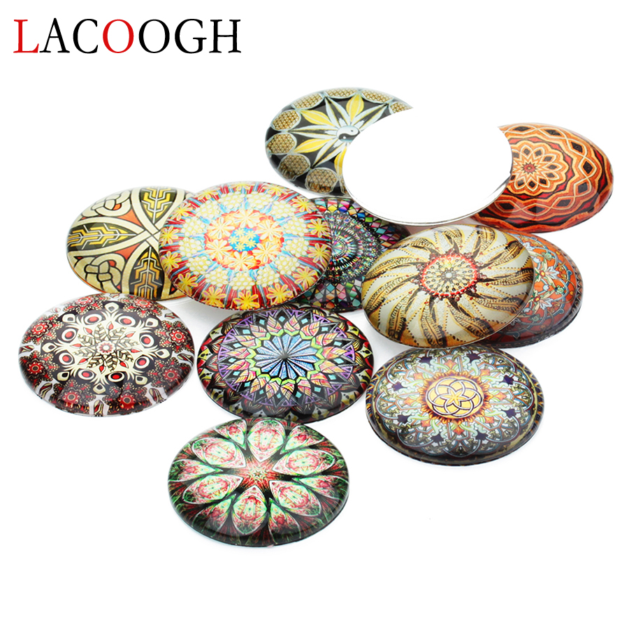 2018 New 20pcslot 10121420mm Ethnic Flower Painting Glass Cabochons Fit Cameo Base Setting For DIY Necklace Party Jewelry