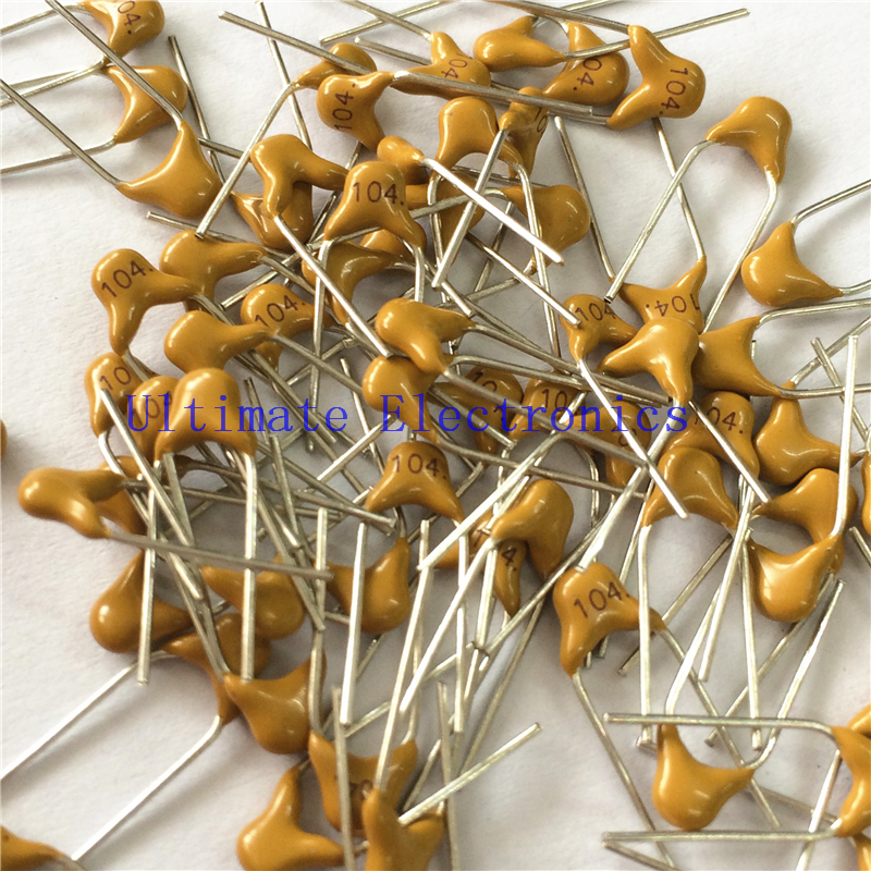 100pcs/lot  Multilayer Ceramic Capacitor 0.1uF 104 50V 100nF 104M  P=5.08mm