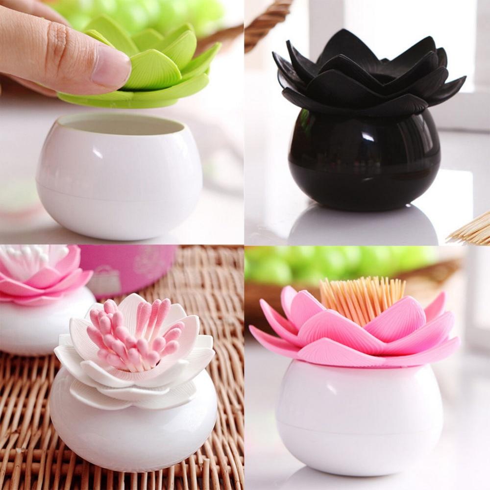 4 Colors Lotus Toothpicks Holder Flower Cotton Swab Box Cotton Bud Holder Base
