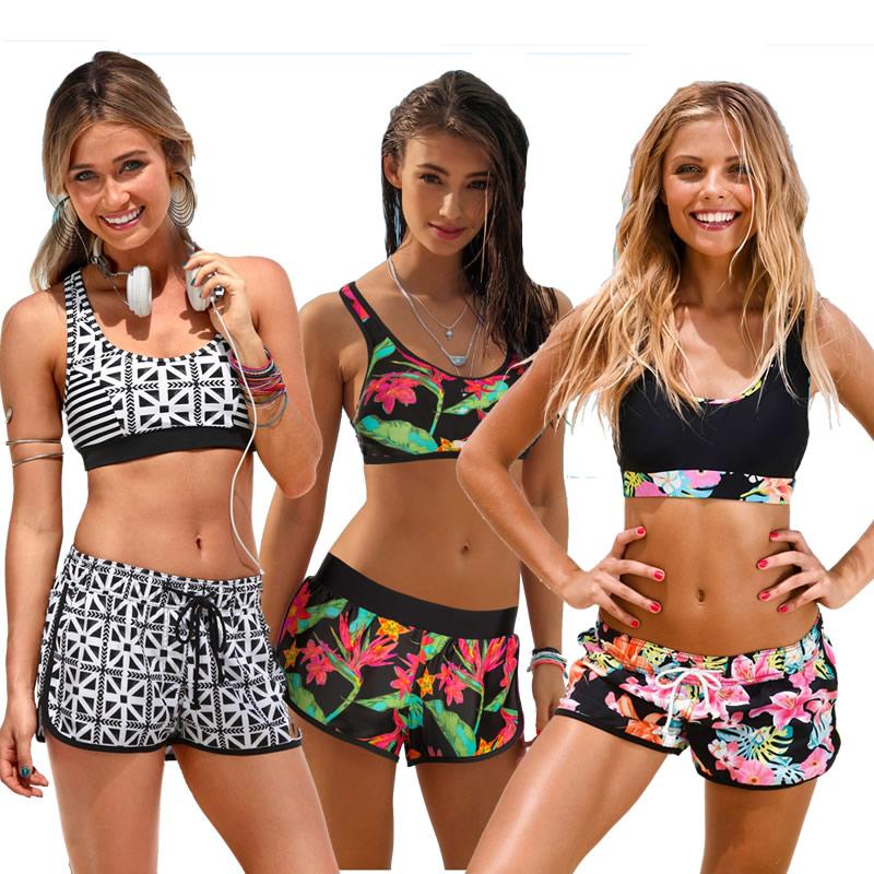 2018 New Sporty Bikini Racerback Top Short Pants Printed Women Bikini set Femme Bathing suit Swimming suits Beachwear Biquini