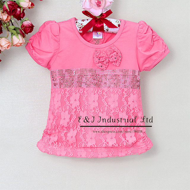 New Arrival 2013 Cotton Baby Girls T Shirts Hot Pink Lace Top with Bow Short Sleeve Tees For Children Clothing GT21225-09^^EI