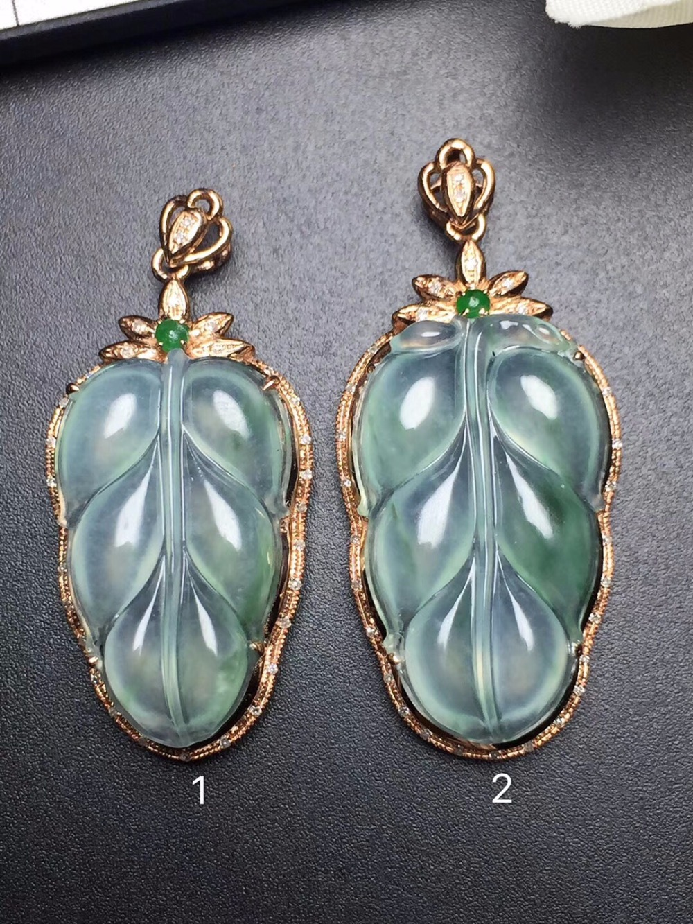 Fine Jewelry Collection Real 18K Rose Gold Natural Green Jade Gemstone Leaf Shape Pendant Necklace Fine Pendants - Click Image to Close