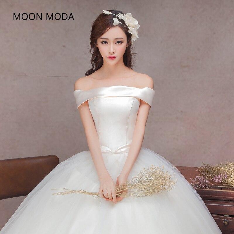 Strapless Boho Korean Wedding 2018 Bride Dress Simple