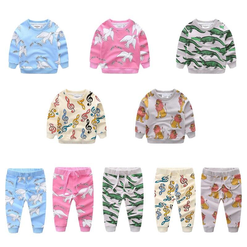 Kids Clothes Set 2018 Spring Boys Girls Cartoon Animal Printing Sweatshirt Pant Trouser Children Clothing Tracksuit