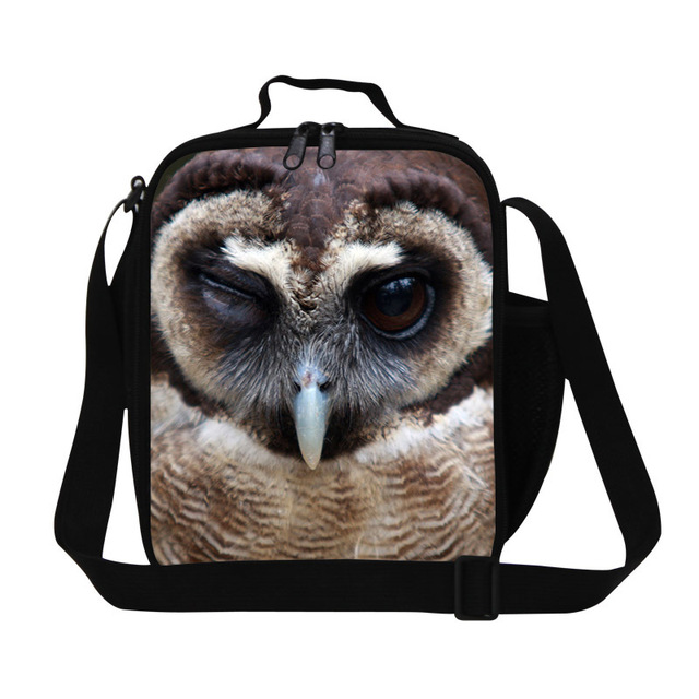 Personalized owl animal printing lunch bags for boys,mens work lunch box,lunch bag with strap for school studetnt,women meal bag