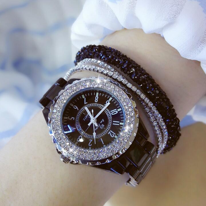 Новый Для женщин горный хрусталь часы Lady Diamond платье часы черные и белые керамические большой циферблат браслет наручные часы со стразами, Лидер продаж