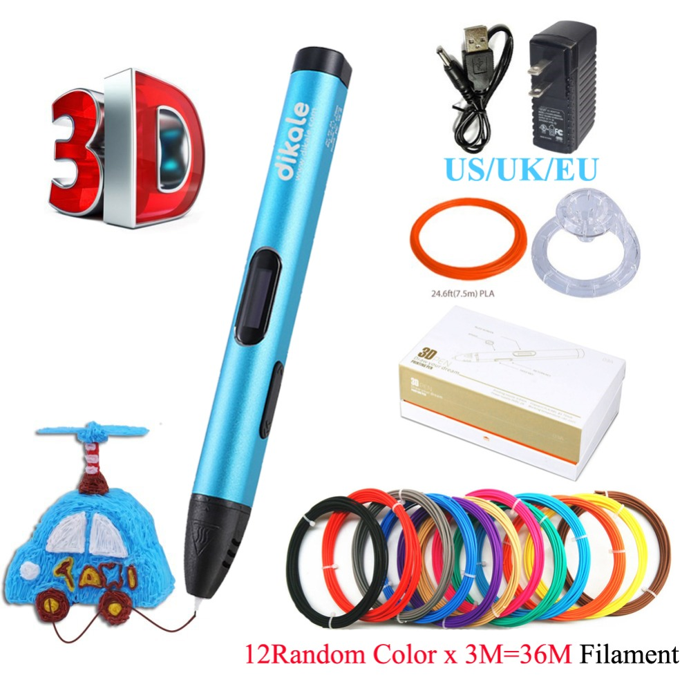 Dikale 3D Printing Pen 5V DIY 3D Pen Pencil USB Charging 3D Drawing Pens Free PLA Filament For Kids Education Modeling Toys Gift dewang patent usb 3d pen art smart drawing pen printing pen kid education toy with 10 colors 5m free abs pla addition filament