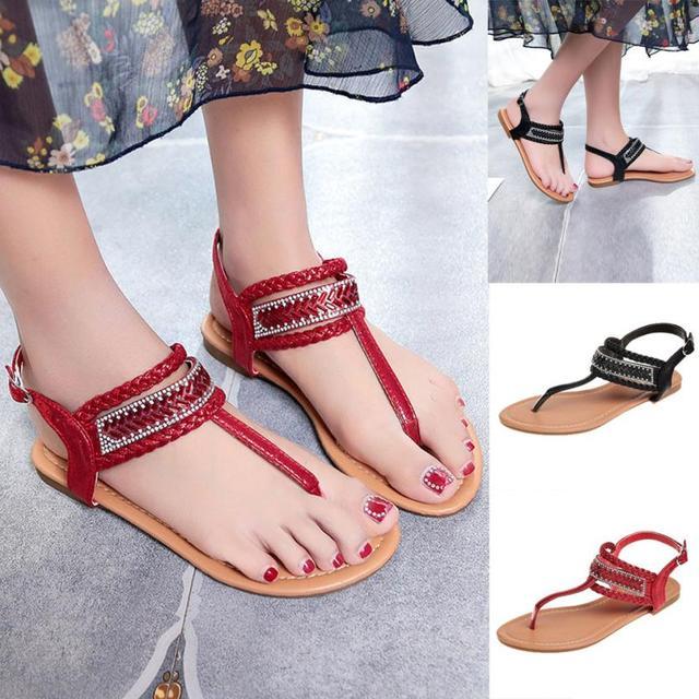 6ddcb7d1a SAGACE Shoes Sandals women Pinch Casual Bohemian Diamond Sandal Gladiator  Sandals Roman Flats casual sandals summer 2018JU7