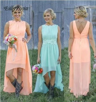High Low Chiffon Bridesmaid Dresses Short Front Long Back Maid of Honor Dresses for Country Wedding Party Simple Boho vestido