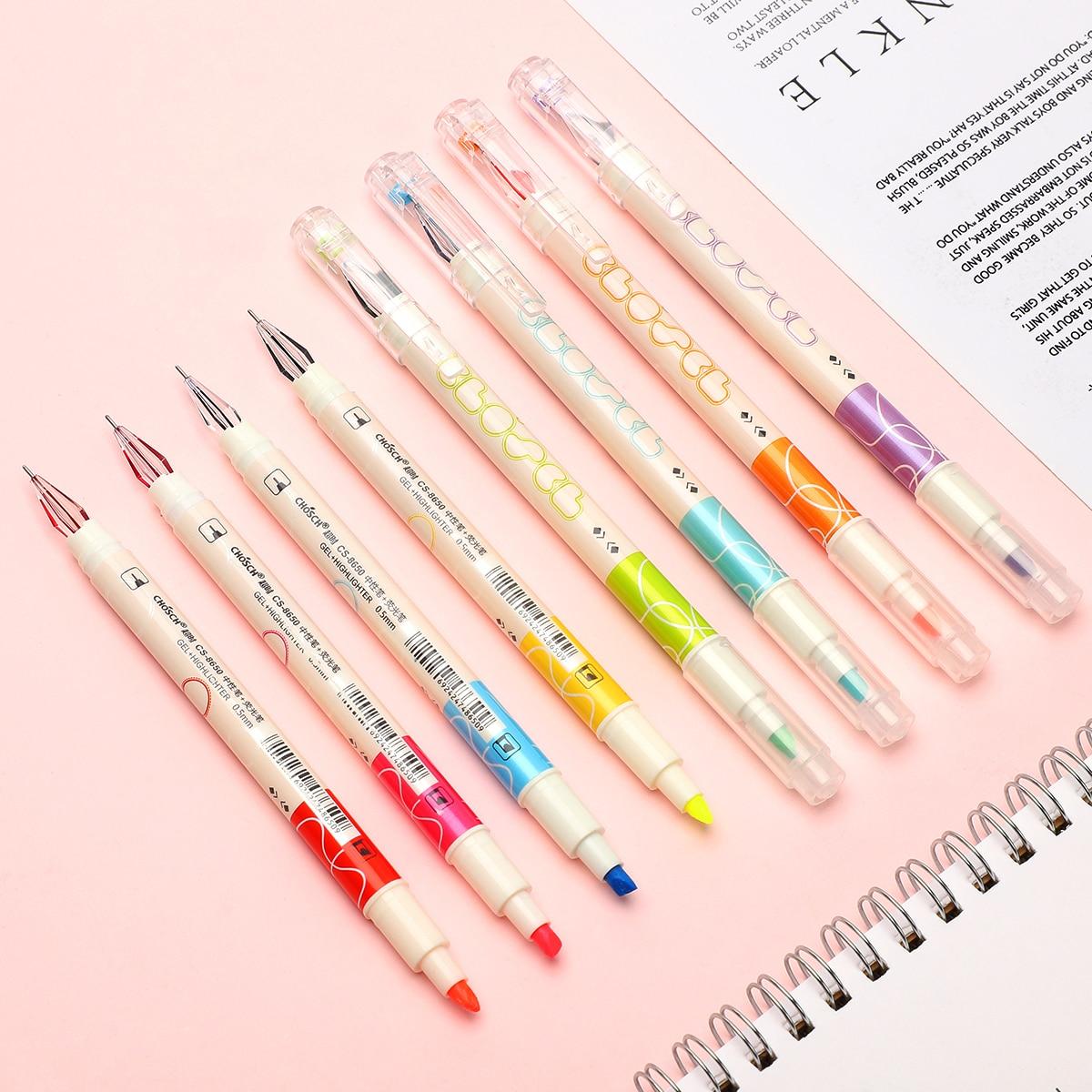 JIANWU 8pcs/set Creative Design Gel Pen Double-headed Writing Gel Pen And Highlighter Combination School Office Supplies Kawaii