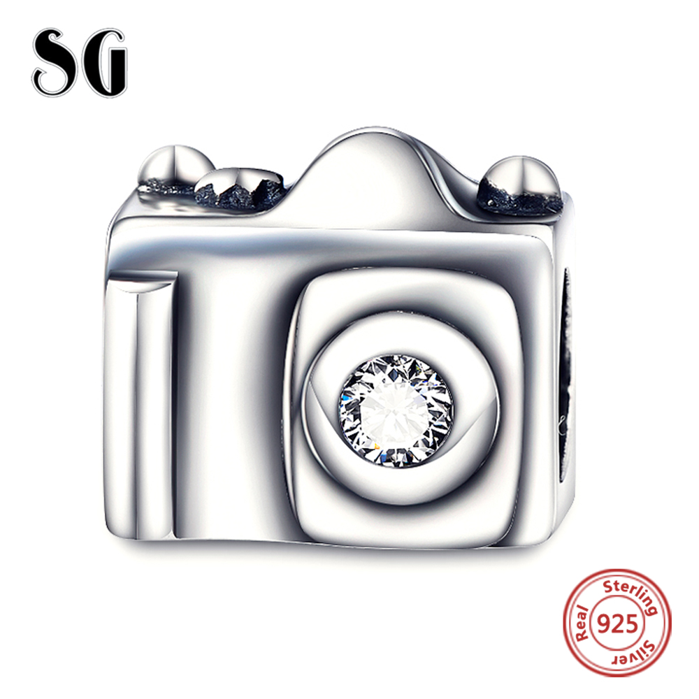 Silver Galaxy Authentic 925 Sterling Silver Camera Travel Charm Beads For Women Fit Pandora Charms Bracelet DIY Bracelet Jewelry