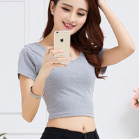 New 2016 summer women T-Shirt slim short sleeve casual O-Neck knitted cotton crop top female short plus size 2XL solid tops tees