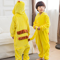 Pokemon Pikachu Cosplay Jumpsuit Costume For Children Kids Onesie Clothing For Halloween Carnival free & drop shipping