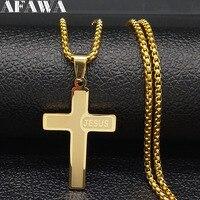 Collares de acero inoxidable con cruz de Jesús larga para hombre, joyería, cadena de Color dorado, collares, joyería, N1174S02
