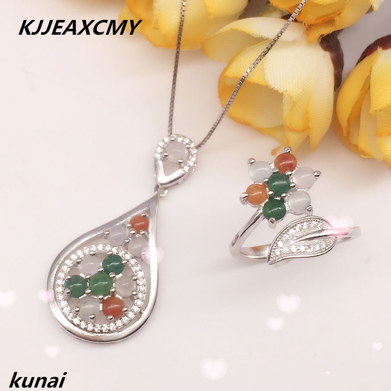KJJEAXCMY Fine jewelry, Colorful jewelry, 925 silver inlay, natural jade set, jade set, women's money цена