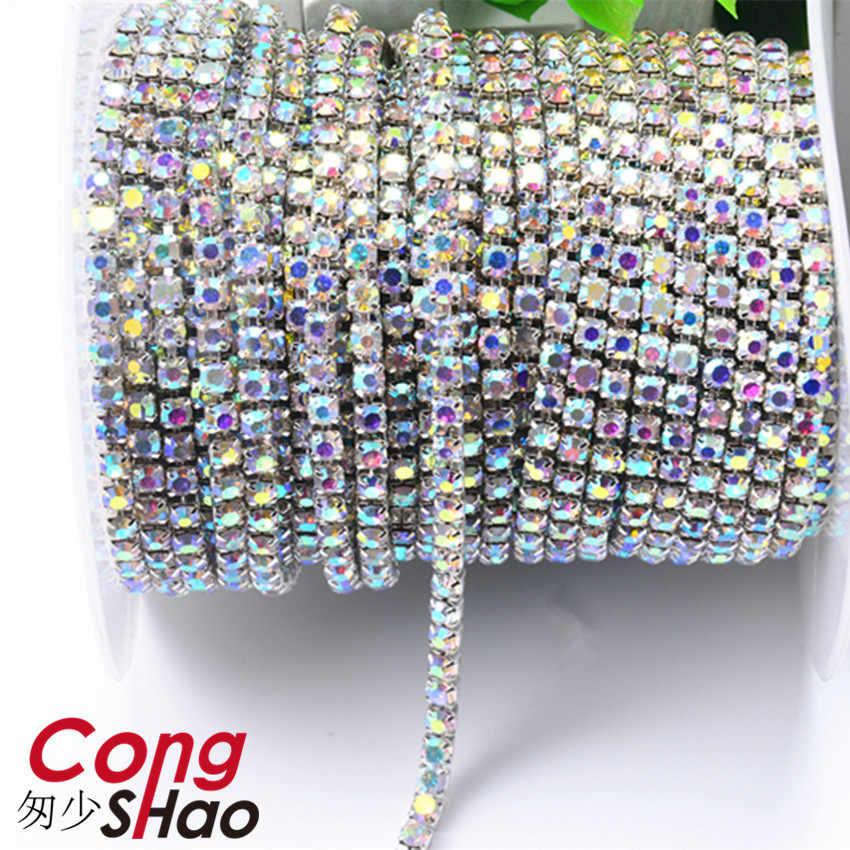 Cong Shao 1 Yard Bunte Nähen auf Kristall Strass Tasse Kette Silber Basierend Klaue für DIY Party Abendessen Kleid Zubehör ZZ898