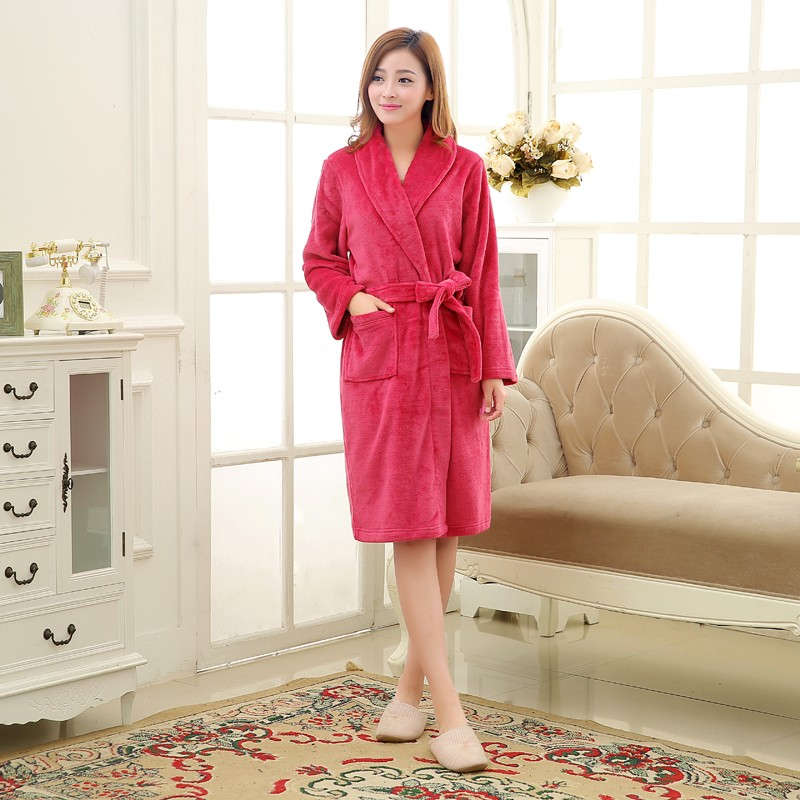 Unisex Mens Women\'s Long Polyester Sleep Lounge Robes RBS-C LYQ114 15