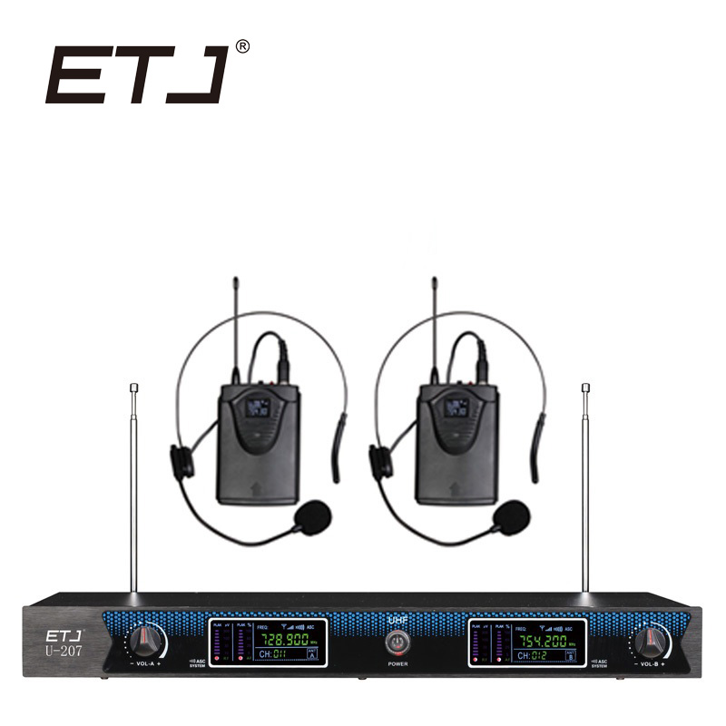 ETJ Brand Professional Wireless Microphone Karaoke Microfone 2 Handheld Transmitter Headset Mic U-207 professional wireless microphone karaoke digital led display handheld microfone with receiver transmitter set for ktv home