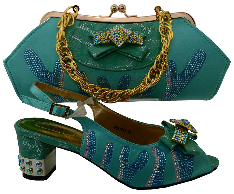 ФОТО Free Shipping African Women Shoes And Bags Set!High Quality Italian Shoes And Matching Bags For Wedding!green Color   MWU1-28