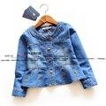 Novo 2014 primavera outono crianças outerwear meninas roupas de bebê denim casaco cardigan criança topo cintura alta crianças jaquetas e casacos