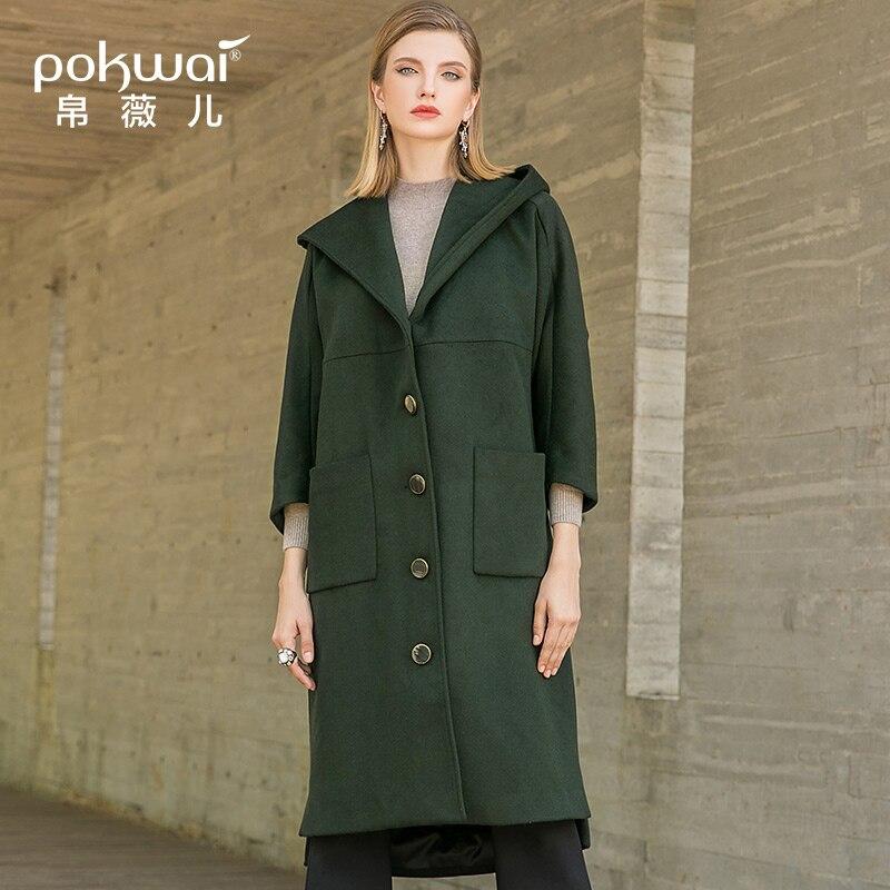 Laine D'hiver À Capuchon 2018 Lâche Section Manteau Mode Manches breasted Longue Longues De Green Single Femelle Nouvelle Pokwai FJc3lK1T
