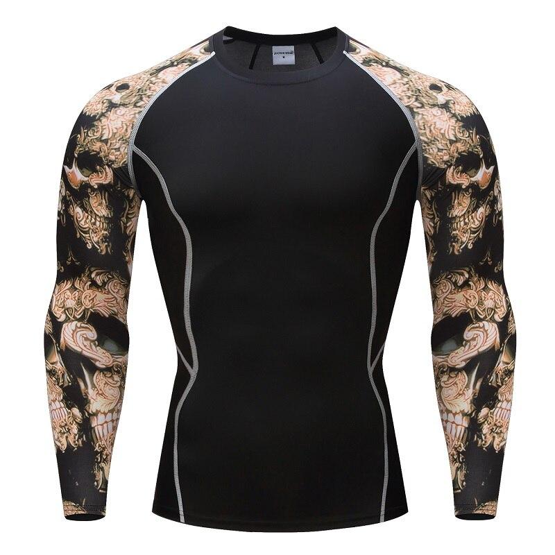 2019 Bodybuilding 3D Effect of Tattoo Men T-Shirt Quick Dry 3D Sport Shirt Fitness MMA Compression Shirt Superman Long T Shirts