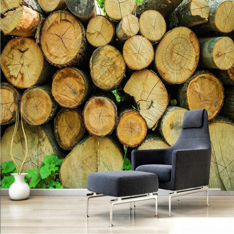 ②Nostalgia Wooden Mural wallpaper for walls living room home ...