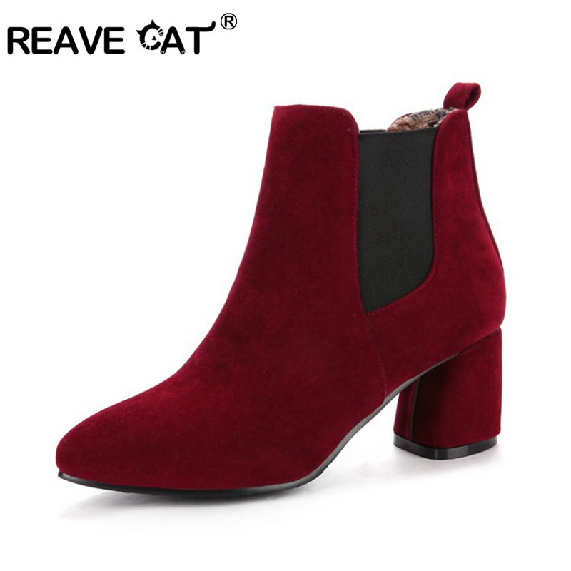 REAVE CAT Chelsea Boots woman faux Suede Leather Female