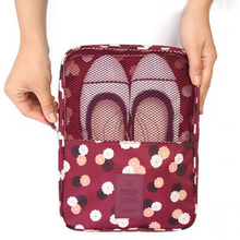 Fashion Portable Floral Travel Totes Shoes Organizer Bag Double Layer Zipper Tote Pouch