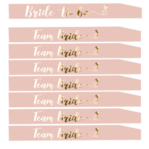 1 Pcs Hen Party Bride to Be Sash Pink Bride to Be Sash with Team Bride for Hen Party Wedding Bridal Shower Gold Letter HW67(China)