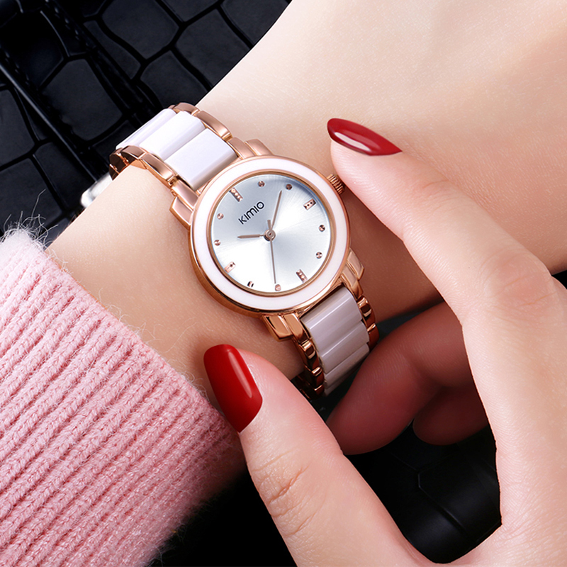 KIMIO Brand Ladies Dress Quartz Watches Relogio Feminino Reojes Mujer Round Dial Analog Imitation Ceramic Wristwatch For Women