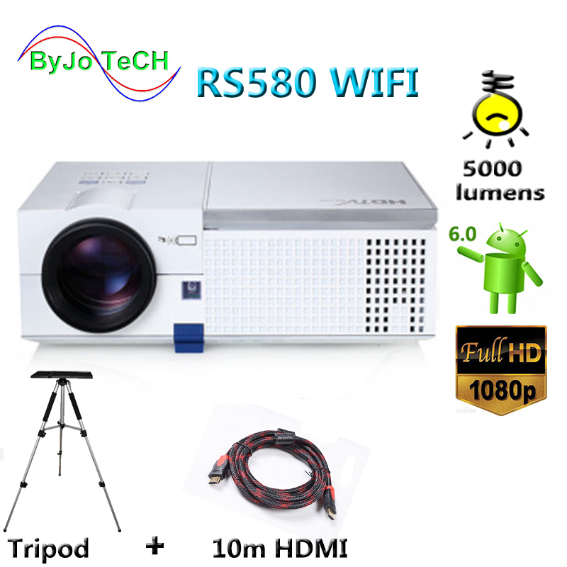 ByJoTeCH RS580 WIFI HD 1080P LED projector 5000 lumens Android 6.0 Bluetooth 3D Proyector Home Theater With 10m HDMI Tripod