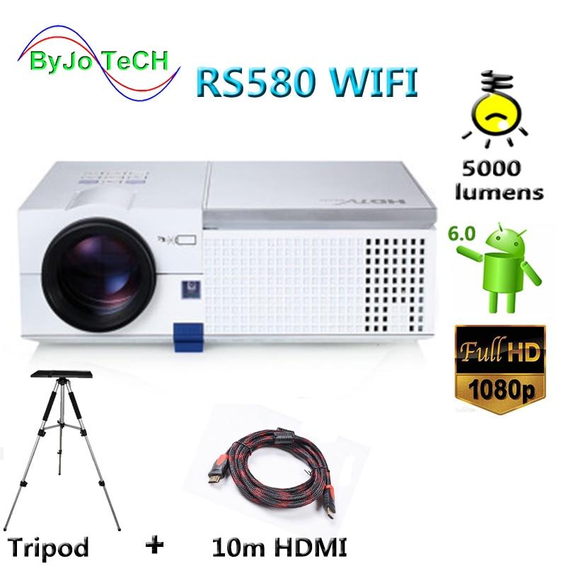 100% Waar Byjotech Rs580 Wifi Hd 1080 P Led Projector 5000 Lumens Android 6.0 Bluetooth 3d Proyector Home Theater Met 10 M Hdmi Statief Waterdicht, Schokbestendig En Antimagnetisch