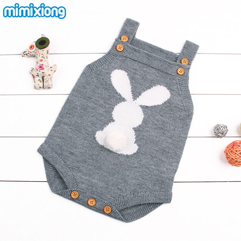 Cute Rabbit Knit Rompers Children's Winter Baby Girls Sleevless Sunsuit Outfit Clothes Toddler Newborn One-Pieces Jumpsuit 0-24M 2017 babies girl clothing whilte sleeveless suit newborn toddler baby girls arrow bodysuit jumpsuit outfit clothes 0 24m