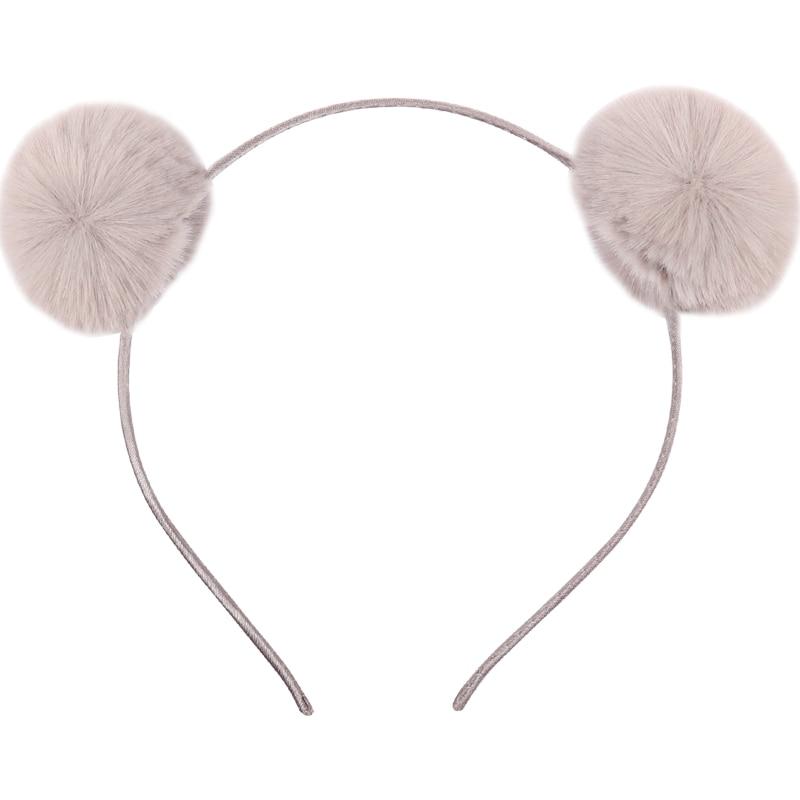 Hot Cute Bear Ear Baby Headbands  For Girls Handmade Solid Pom Liffle Fur Baby Hairband Headband Newborn Infant Hair Accessories