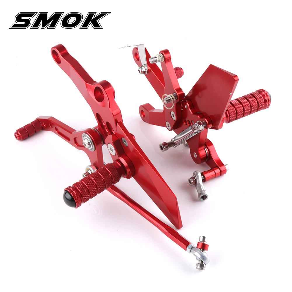 SMOK Motorcycle Accessories CNC Aluminum Alloy Rear Sets Rearset Footrest Foot Rest Pegs For Kawasaki Ninja 400 2018 smok for kawasaki ninja 300 2013 2014 2015 2016 cnc aluminum motorcycle accessories rear fork chain adjuster blocks tensioner