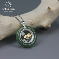 Lotus Fun Real 925 Sterling Silver Handmade Fine Jewelry Classic Oriental Element Peace Clouds Design Pendant without Necklace