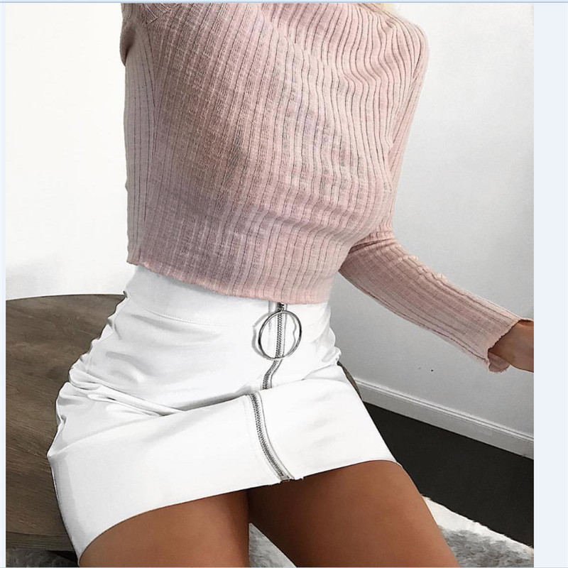 Stylish Women High Waist PU Leather Solid Zipper Mini Short Skirt Plain Flared Pleated Pencil Skirt Short Sexy Costume image