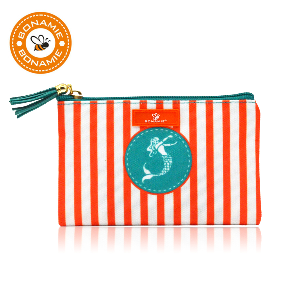 BONAMIE Women Brand Stripe Cosmetic Case Bag Lady Clutch Bag Mermaid Printed Tassel Girl Small Beach Bag Purse Shell Makeup Bag цена