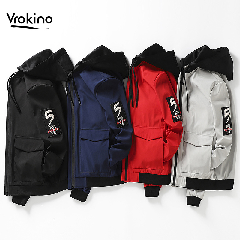 VROKINO 2019 Spring and Autumn New Men's Solid Color Hooded Large Size Jacket Fashion Classic Men's Loose Jacket 5XL <font><b>6XL</b></font> <font><b>7XL</b></font> <font><b>8XL</b></font> image