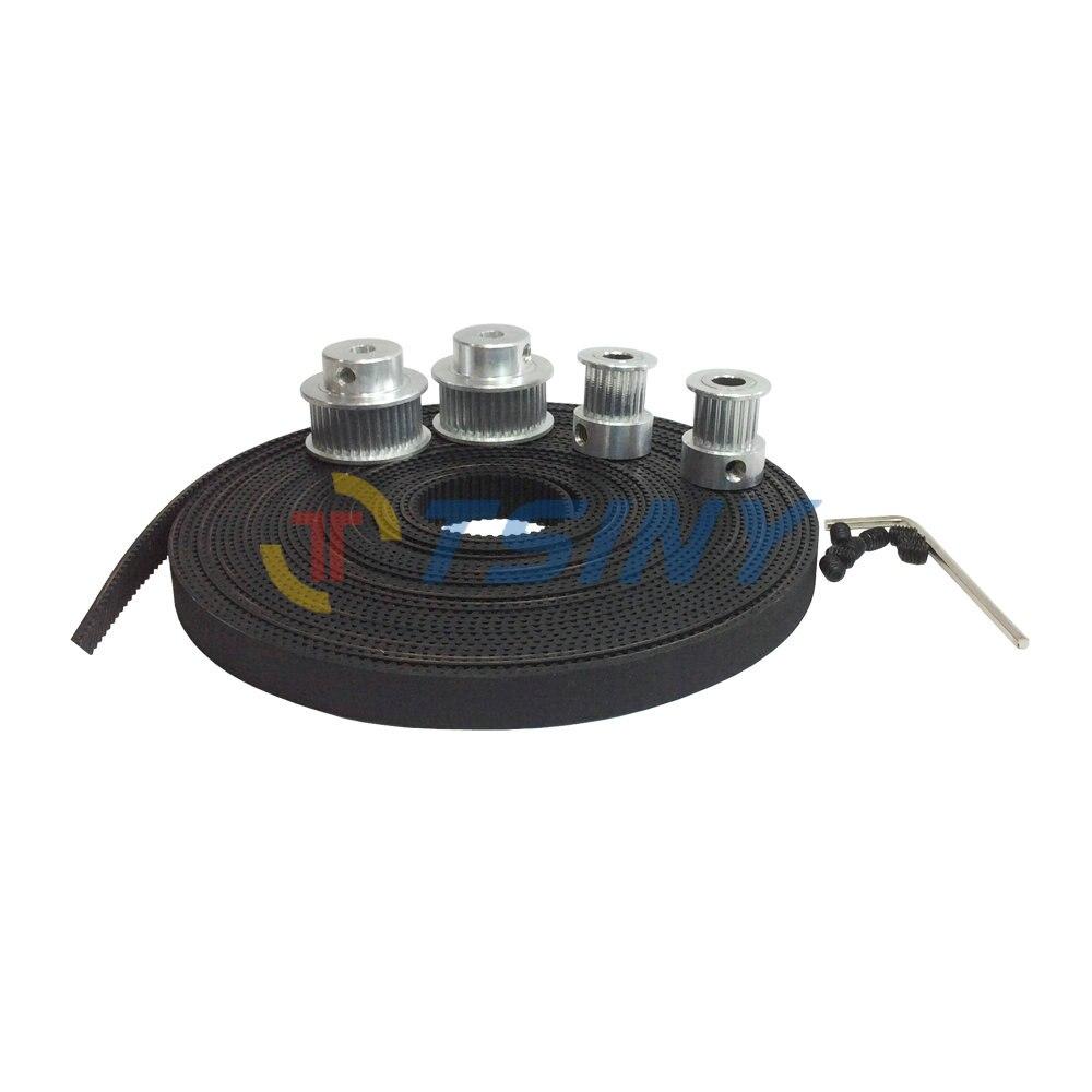 HTD 2GT 5 Meters Timing Belt & GT2 Pulley 2pcs 20 Teeth Bore 5/6.35/8mm+2pcs 40 Teeth Alloy Pulley Bore 5mm 8mm Teeth Width 10mm