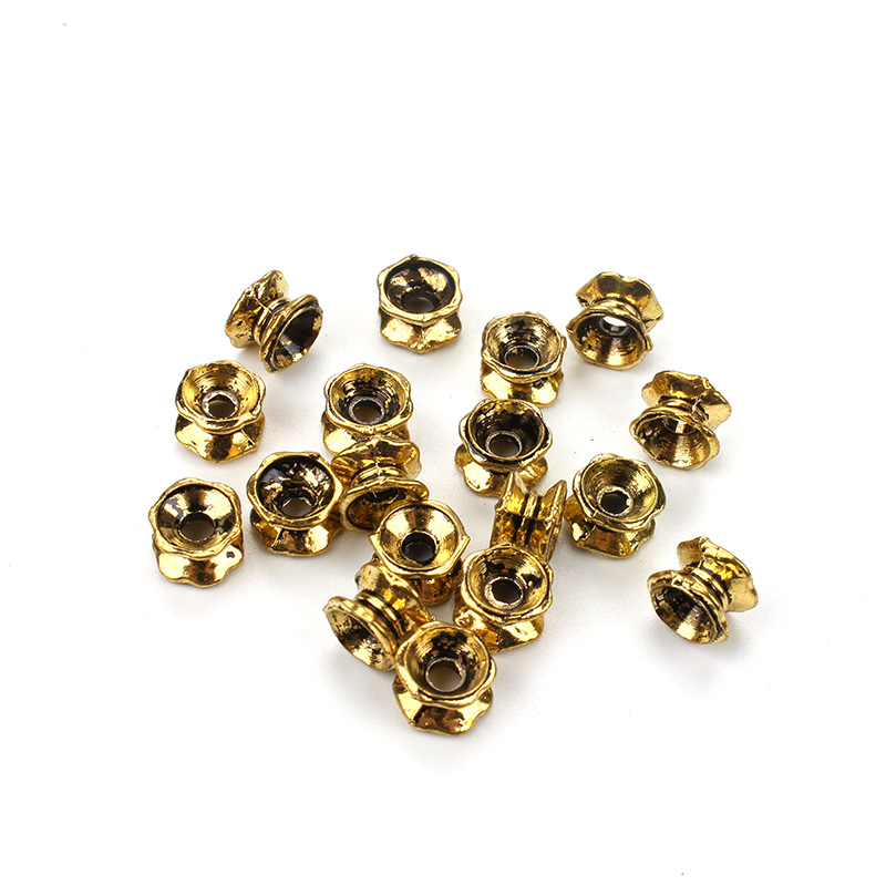 50pcs/lot 7mm Retro Gold Color Imitation Bead Caps Receptacle DIY Jewelry Findings Accessories UF5357
