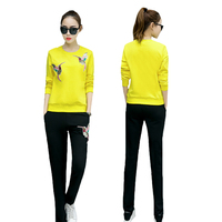 2017 Spring Autumn Women Sets Embroidery Suits Fashion Black Red Yellow White Tracksuits Trouser Fitness Female