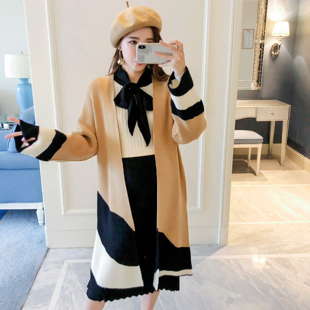 Pregnant women sweater fashion models 2018 new winter mixed colors long section of loose cardigan sweater coat maternity plus size geometric loose sweater kimono cardigan