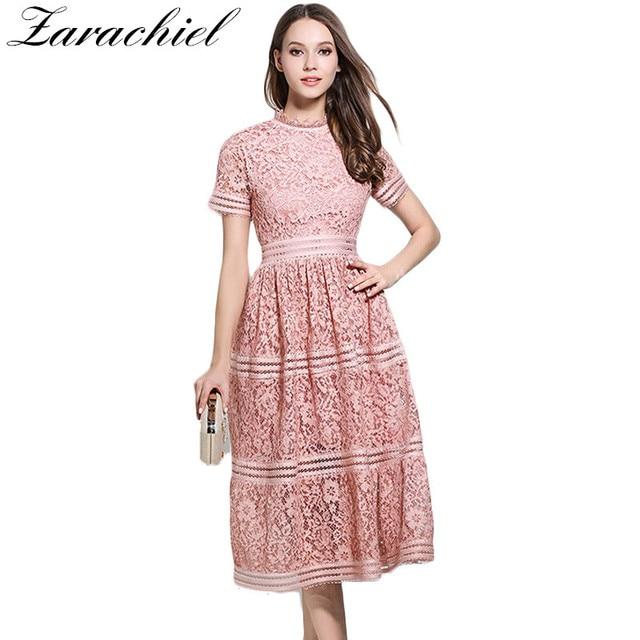 Women Bohemian Pink Lace Summer Crochet Hollow Out Casual Short