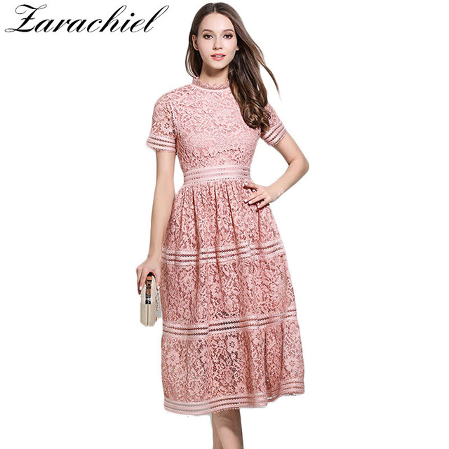 67ef3e4bb13 Women Bohemian Pink Lace Summer Crochet Hollow Out Casual Short Sleeve Plus  Size Green Dress 2019 Runway Designer Brand Clothing