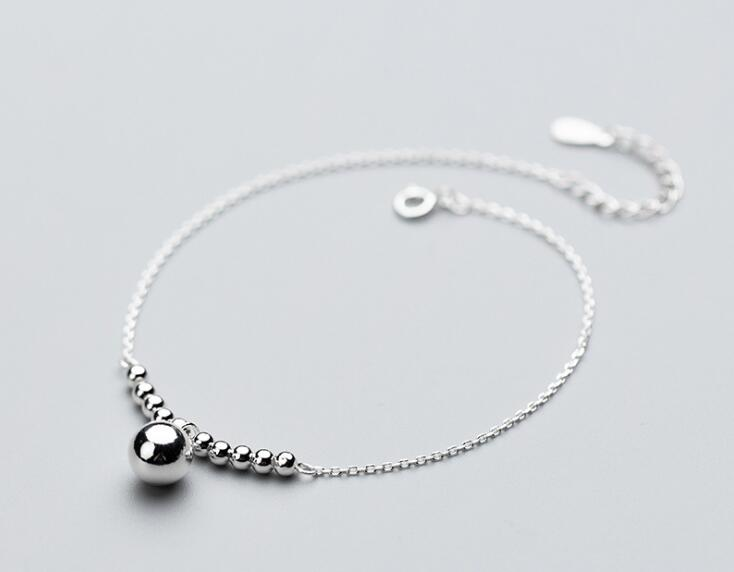 100% Authentic Real. 925 Sterling Silver Fine Jewelry Bigger &Small Lucky Round Beads Charms Anklet Bracelet GTLS696