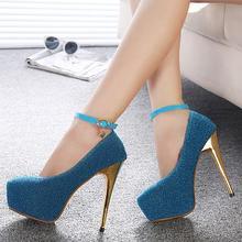 14cm sexy high-heeled shoes autumn new arrival single shoes thin heels platform paillette women's belt button shoes