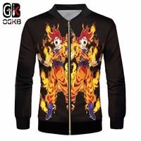 OGKB Anime Zip Jacket For Men's Cool Print Dragon Ball Z 3d Baseball Jacket Coats Man Hiphop Gothic Collar College Uniforms 6XL